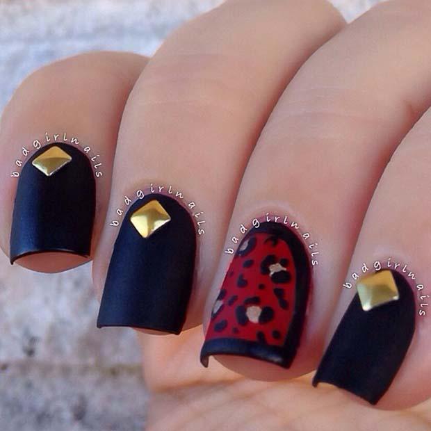 Matte Black Nails with Leopard Print