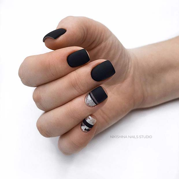 Matte Black Nails with a Pop of Glitter