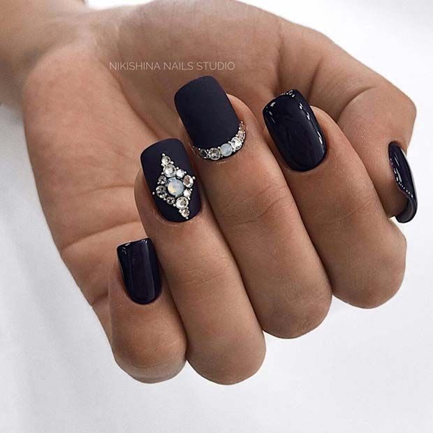 Elegant Matte Black Nails with Rhinestones