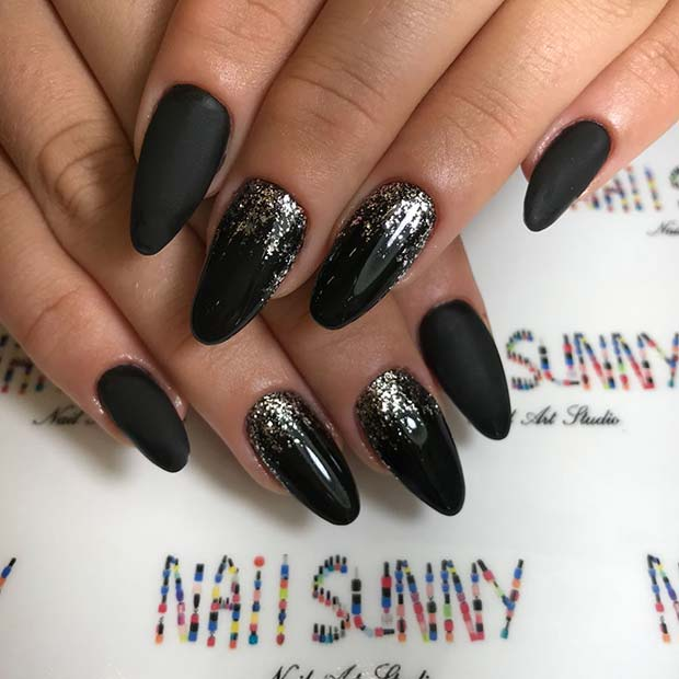 Elegant Black Nails with Silver Glitter