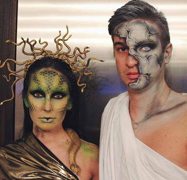 Medusa and Stone Statue Couples Halloween Costume