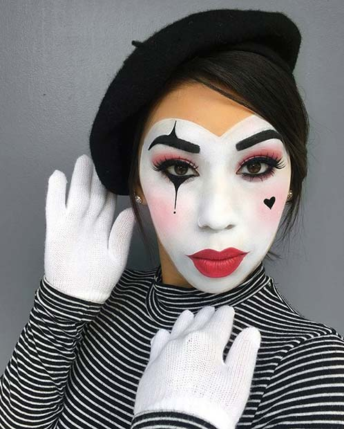 Cute Mime Makeup and Costume Idea for Women