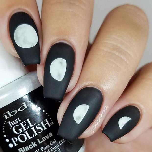 Cute Moon Phase Matte Black Nails