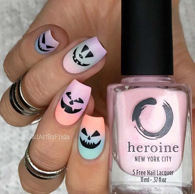 Cute Pastel Pumpkin Nails for Halloween