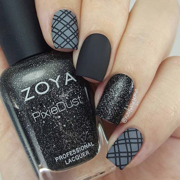 Matte Black and Plaid Nail Art Design