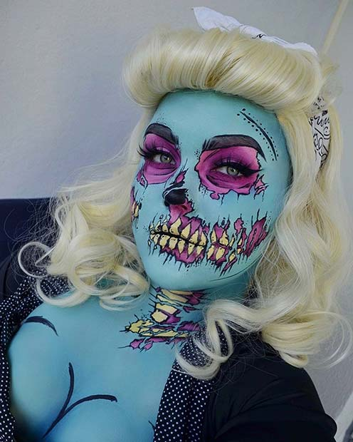 Pop Art Pinup Zombie Idea for Halloween