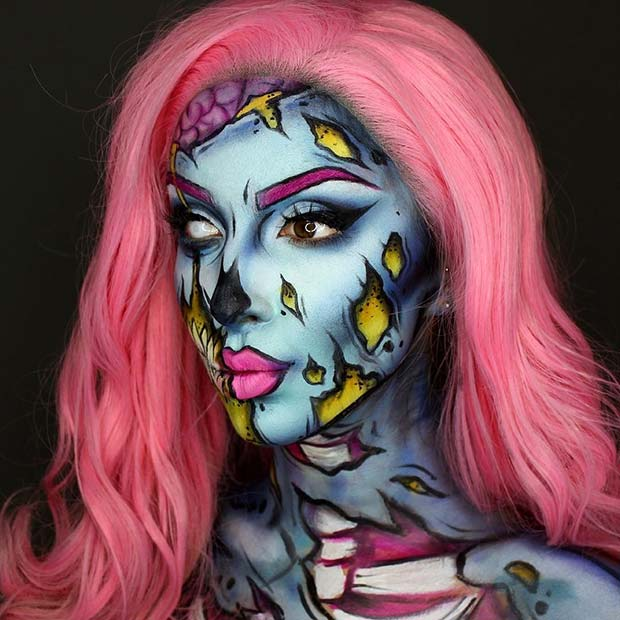 Pop Art Zombie Halloween Makeup