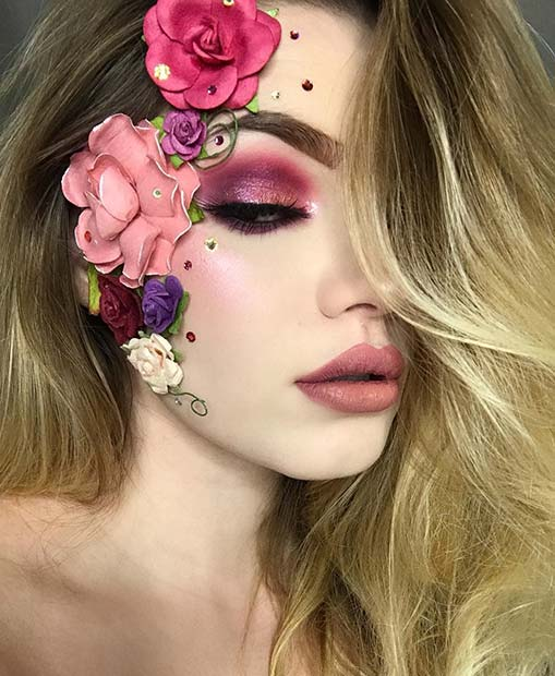 Pretty Floral Halloween Makeup