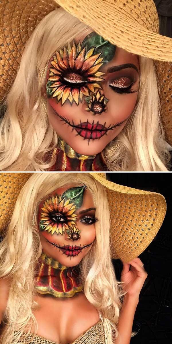 Pretty Scarecrow Sunflower Halloween Makeup Idea