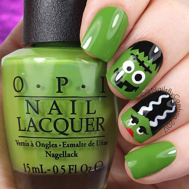 Cute Frankenstein Nails for Halloween