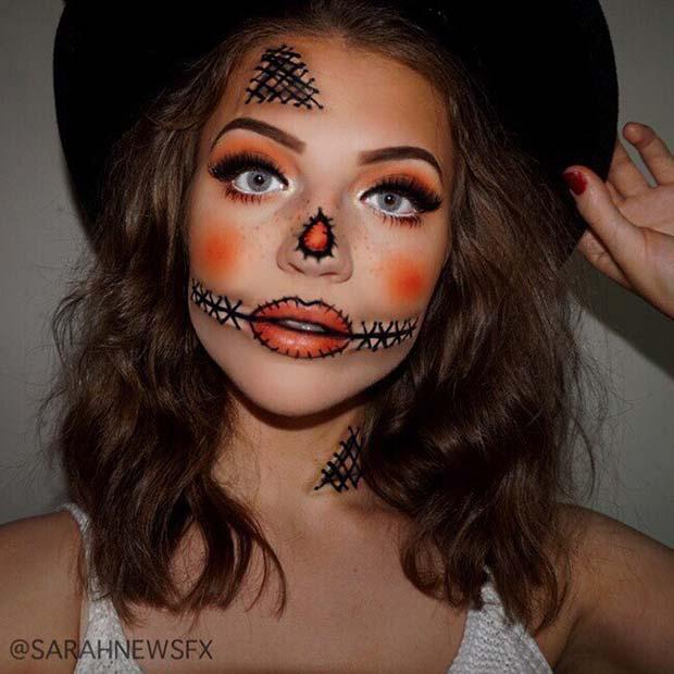 Cute Scarecrow Makeup for Halloween