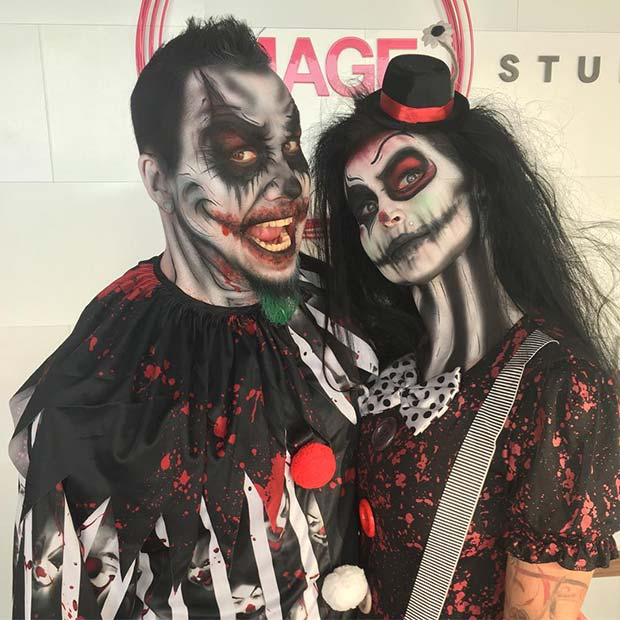 Scary Clowns Couples Halloween Costume