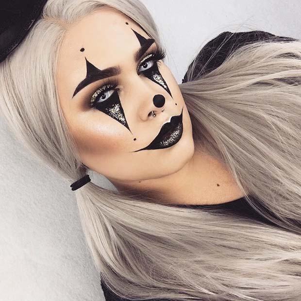 Black & Gold Halloween Clown Look