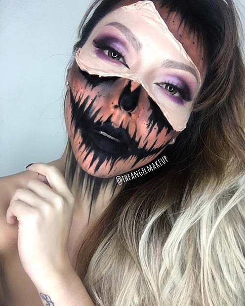 Scary Half Pumpkin Halloween Makeup