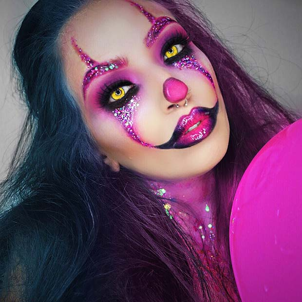 Scary Pink Clown Makeup Look for Halloween