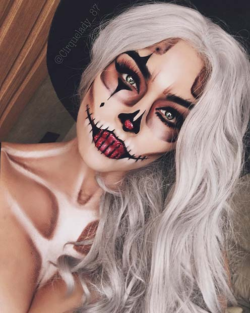 Skeletal Clown Makeup Idea for Halloween