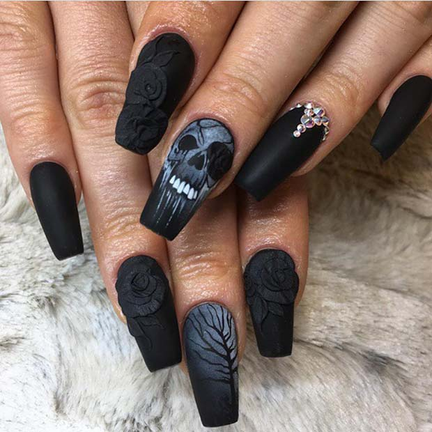 Black Matte Nails with a Skull for Halloween