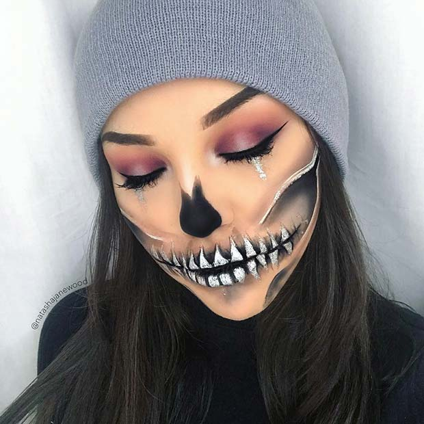 Spooky Half Skull Makeup Idea for Halloween