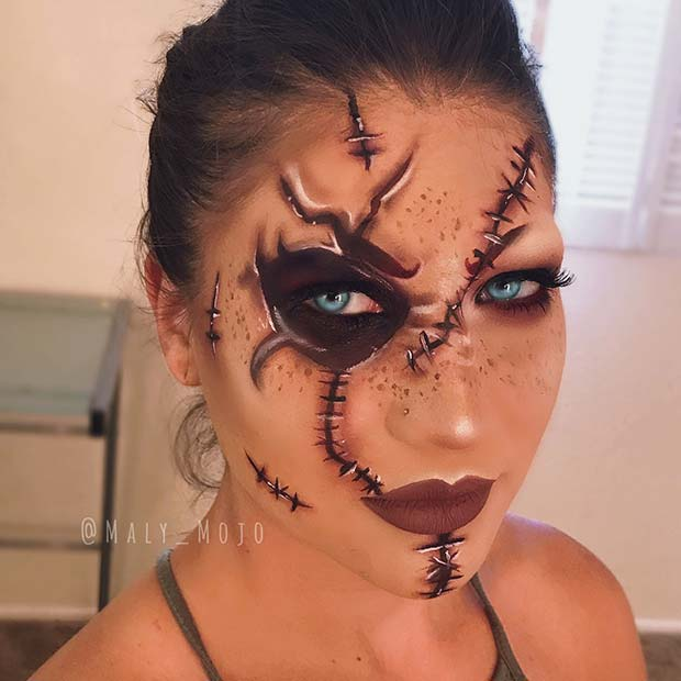 Creepy Stitches Halloween Makeup
