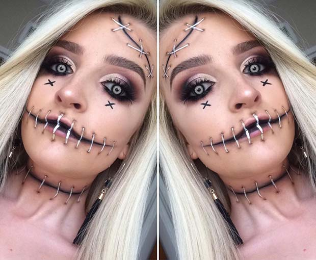 Scary Stitches Makeup Idea for Halloween