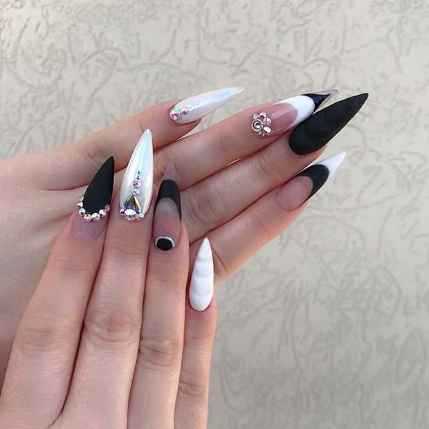 Matte Black and White Stiletto Nails