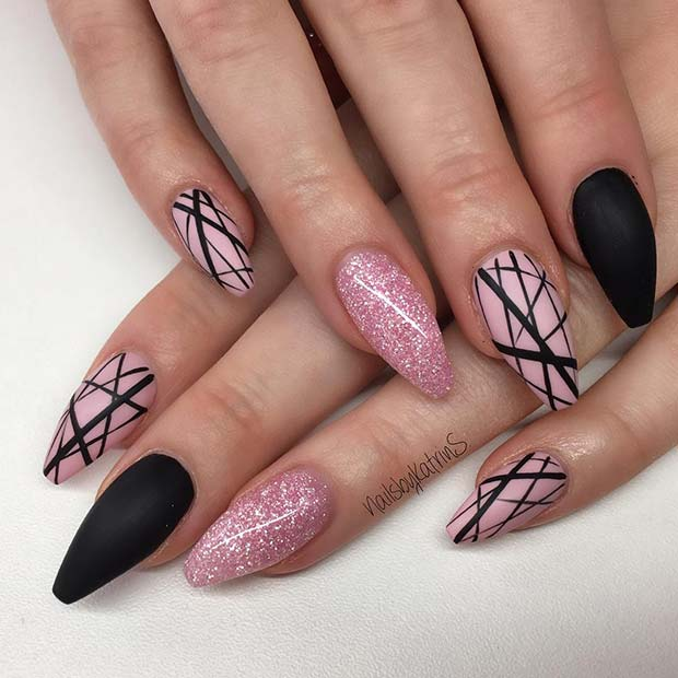 Trendy Matte Black Nails with Glitter