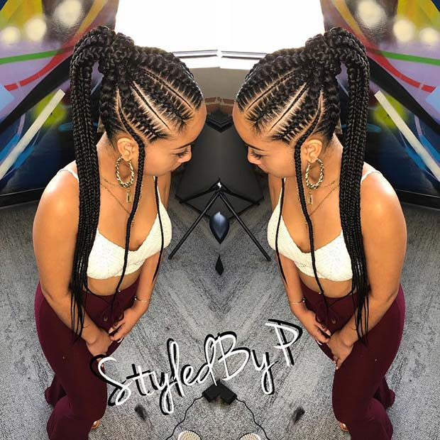 Trendy High Ponytail with Braids