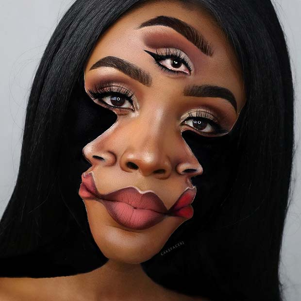 Trippy Face Illusion Makeup