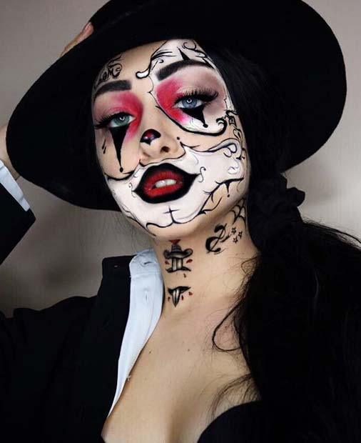 Unique Gangster Clown Makeup and Costume Idea