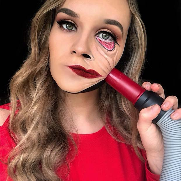 Vacuum Illusion Makeup Idea for Halloween