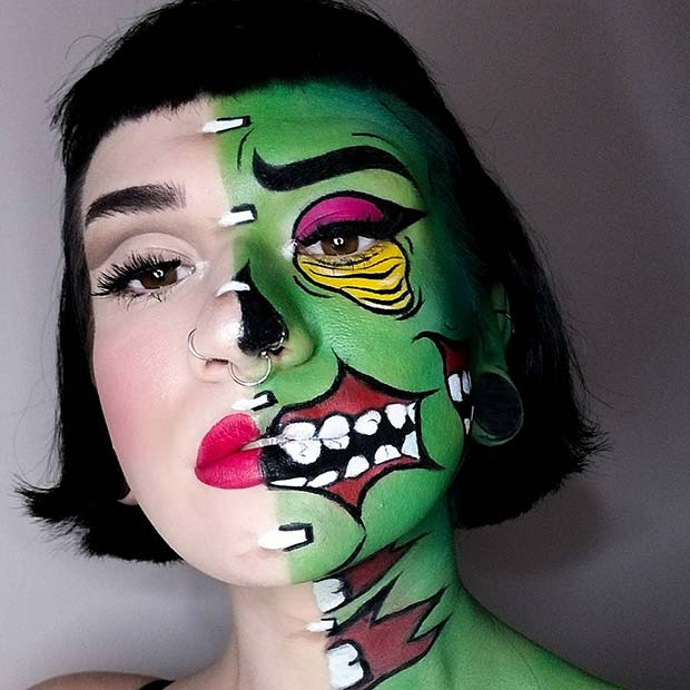 Vibrant Half Pop Art Zombie Makeup for Halloween