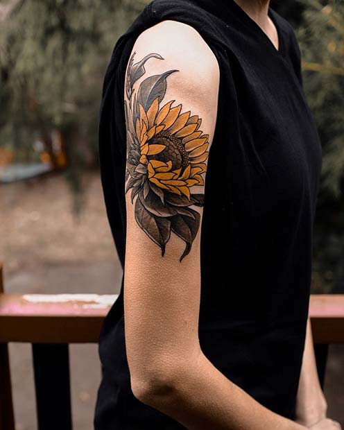 Vibrant Sunflower Tattoo Idea