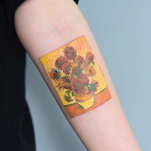 Vincent van Gogh Sunflowers Tattoo Art