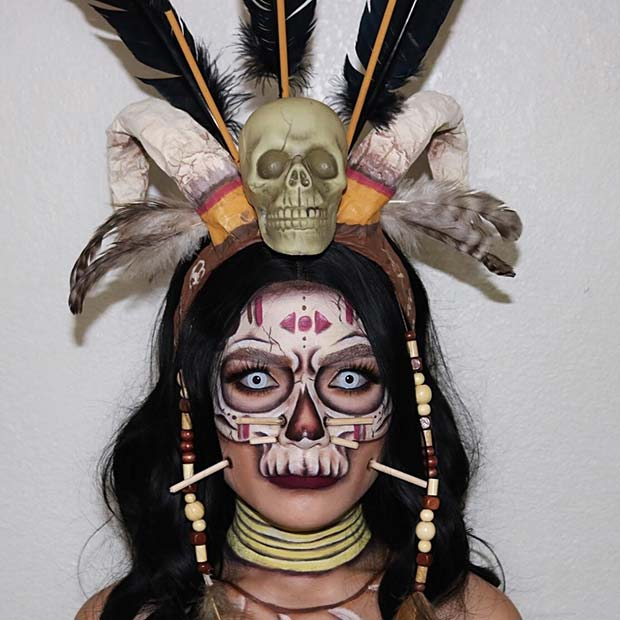 Witch Doctor Halloween Makeup and Costume Idea