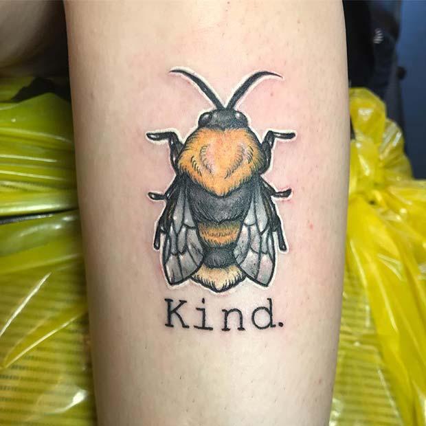 Be Kind Bumble Bee Tattoo