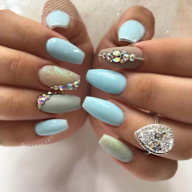 Light Blue Coffin Nails with Bling