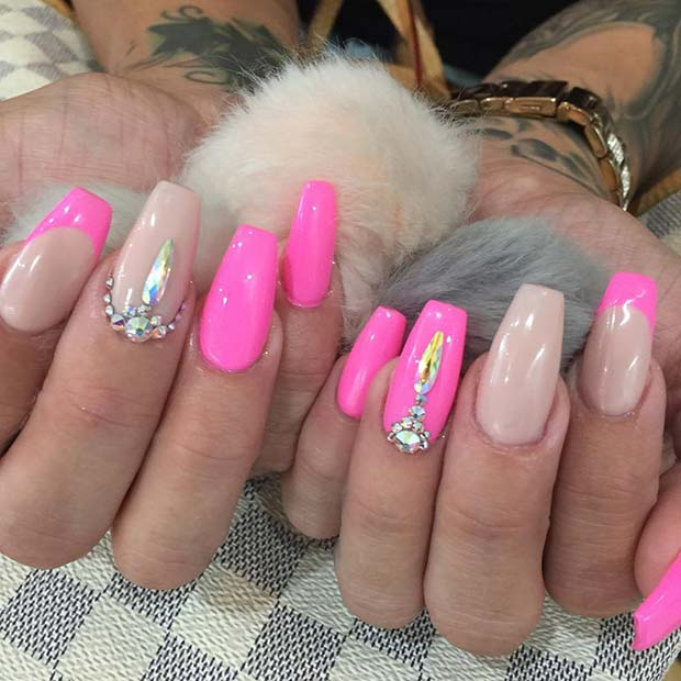 Nude Pink Nails with Rhinestones