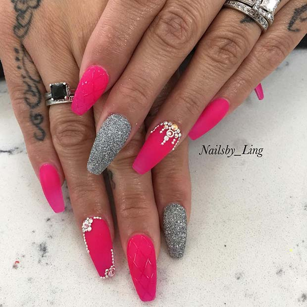 Pink and Silver Glitter Coffin Nails