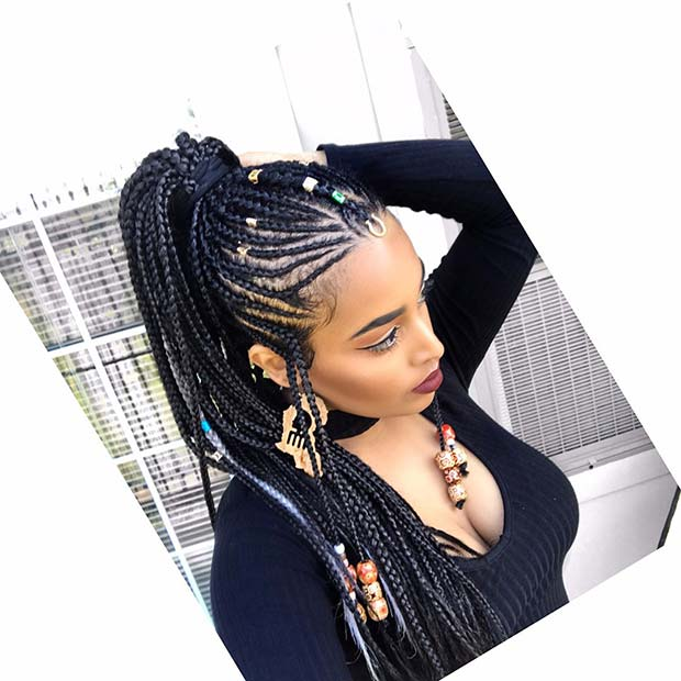 Fulani Braids into a Braided Ponytail
