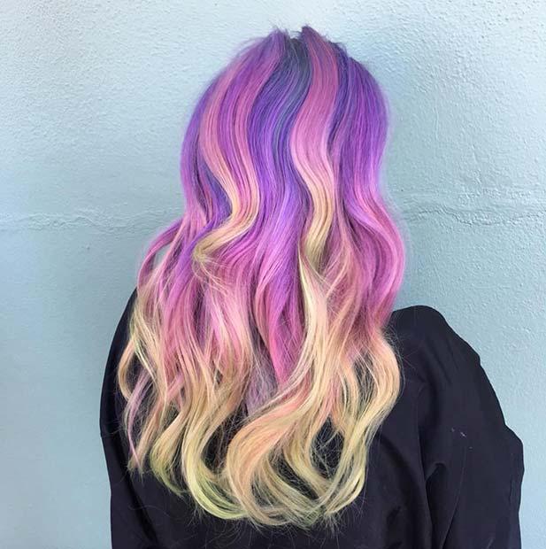 Bright Purple and Yellow Unicorn Hair