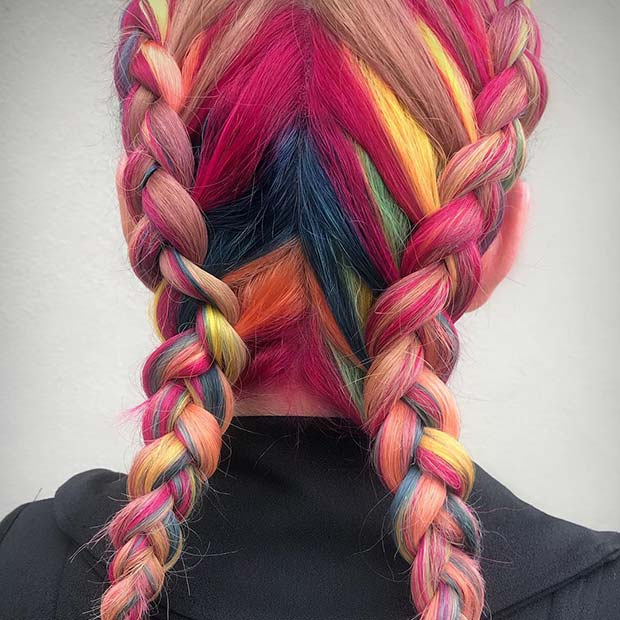 Braided Rainbow Hair
