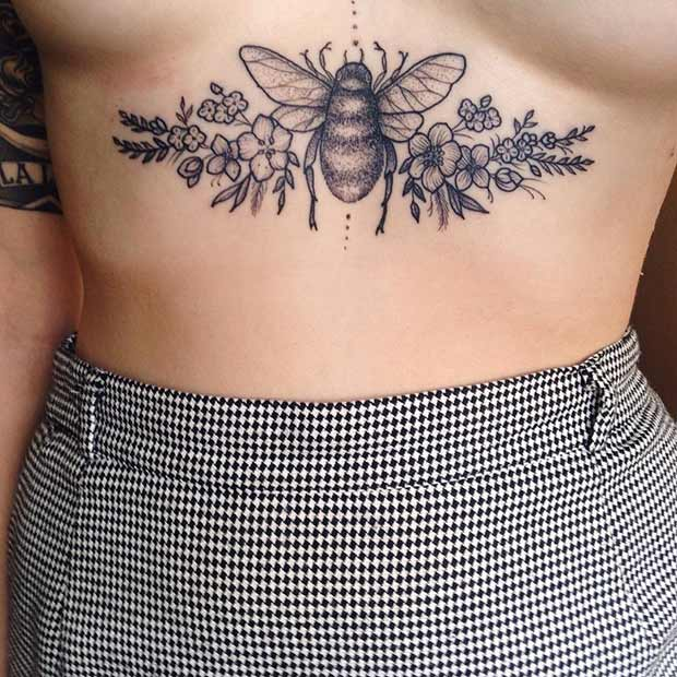 Bumble Bee Sternum Tattoo