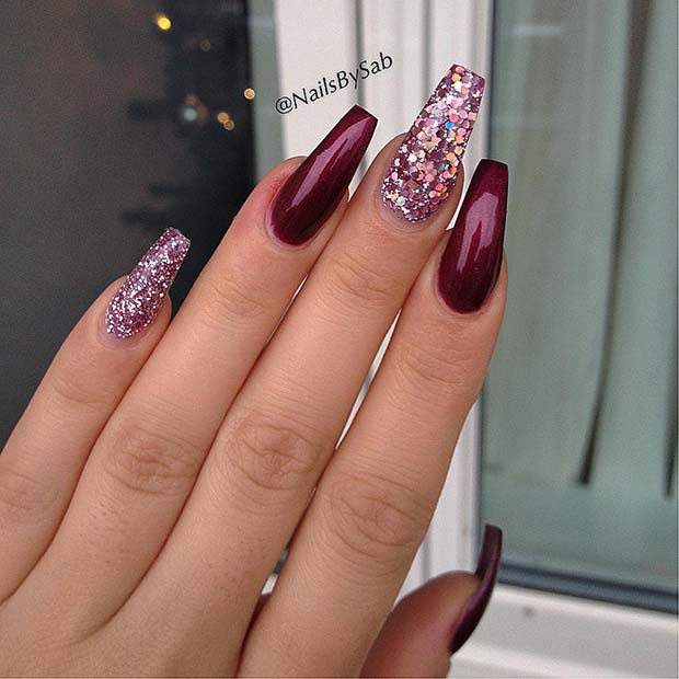 Burgundy and Glitter Coffin Nails