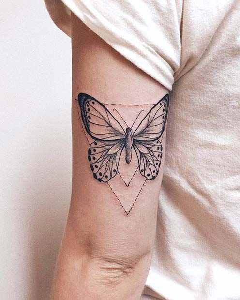 Pretty Butterfly and Triangle Tattoo Idea