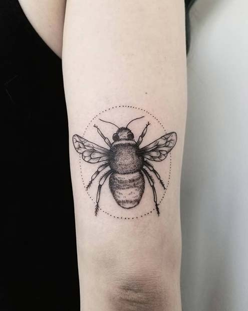 Big Bumble Bee Arm Tattoo Idea