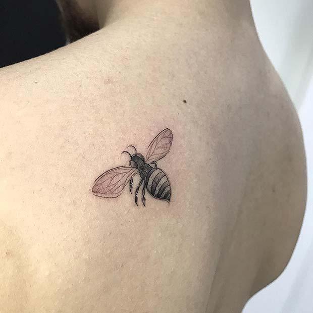Cute Back Bumble Bee Tattoo