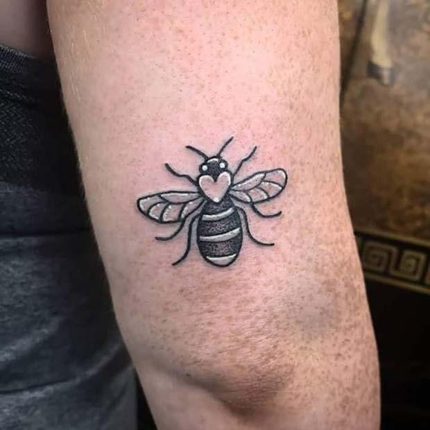 Cute Bumble Bee Tattoo With Heart