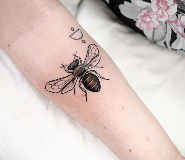 Cute Small Bee Tattoo