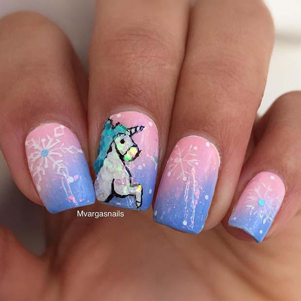 Cute Unicorn Nail Art Idea