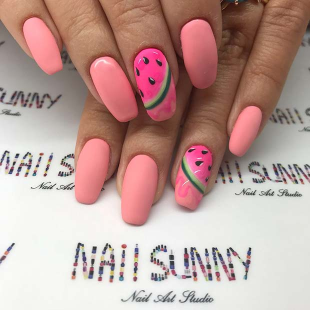 Cute Pink Watermelon Nails